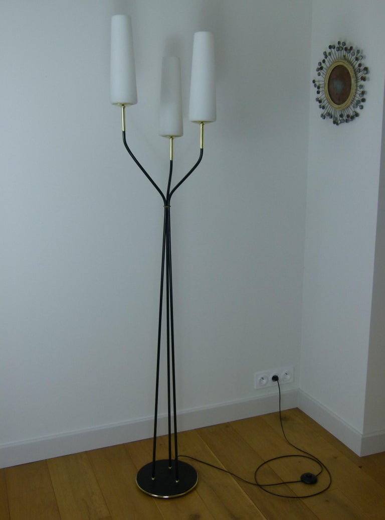 Mid-Century Modern Pair of 1950s Floor Lamp with Three Lighted Arms by Maison Lunel For Sale