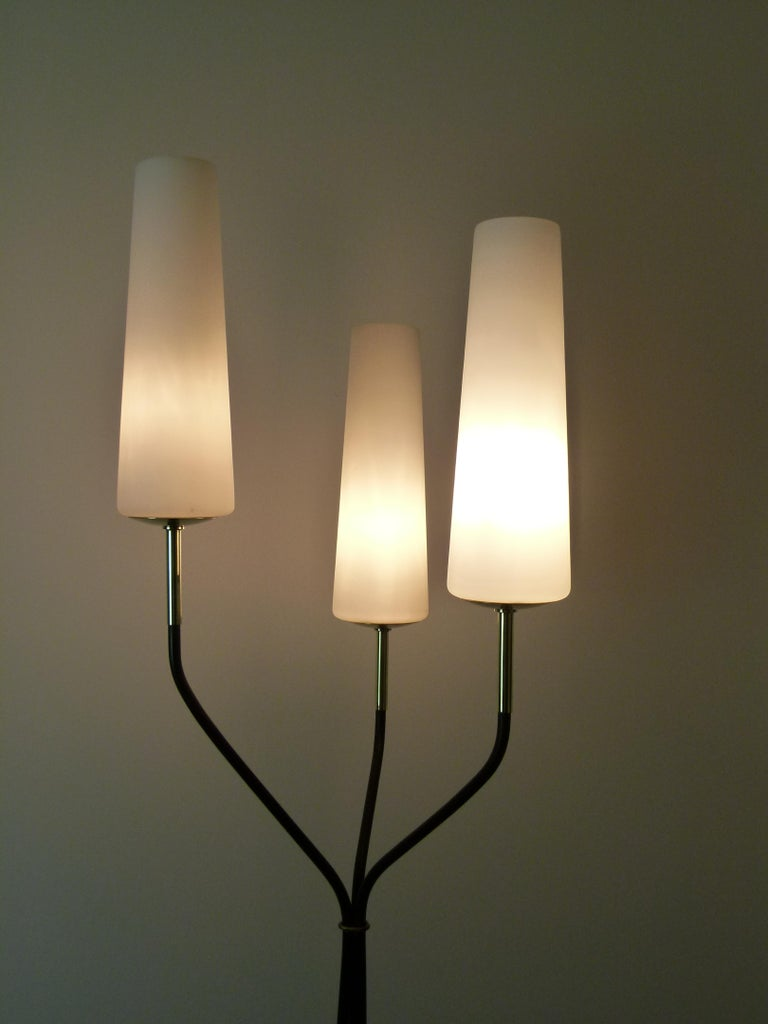 French Pair of 1950s Floor Lamp with Three Lighted Arms by Maison Lunel For Sale