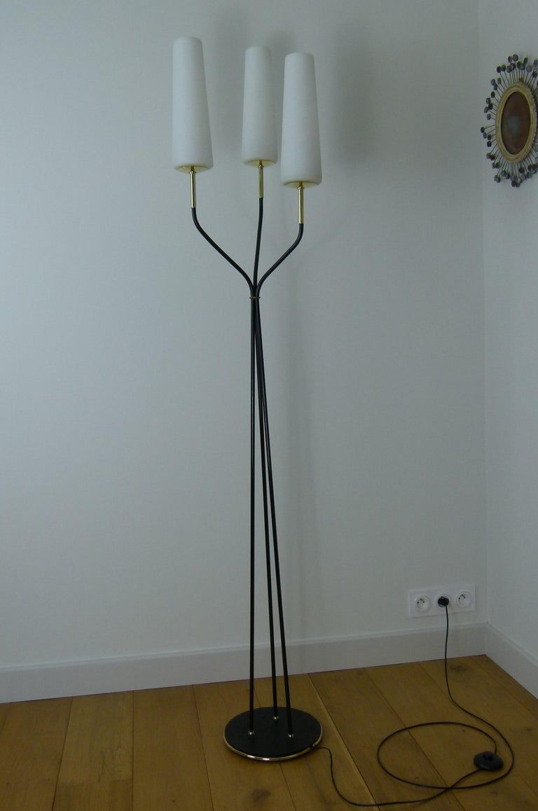 Pair of 1950s Floor Lamp with Three Lighted Arms by Maison Lunel For Sale 2