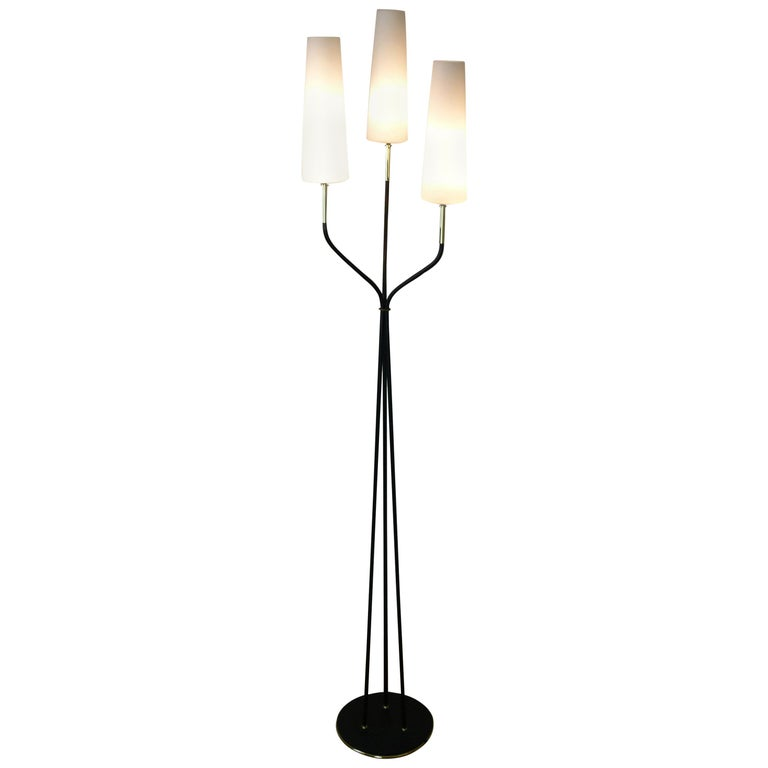 Pair of 1950s Floor Lamp with Three Lighted Arms by Maison Lunel For Sale