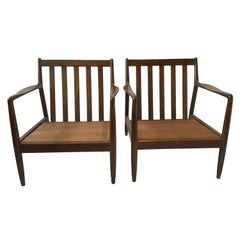 Pair of 1950s Folke Ohlsson Walnut Lounge Chairs for DUX