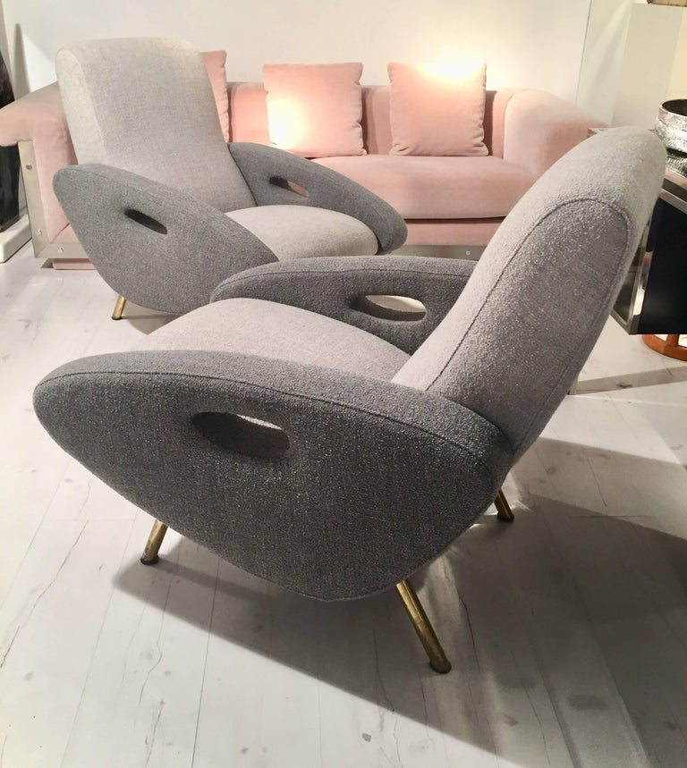 Mid-Century Modern Pair of 1950s Francois Letoneur Armchairs For Sale