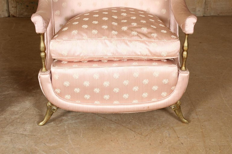 Pair of 1950s French Bronze and Upholstered Lounge Chairs For Sale 1