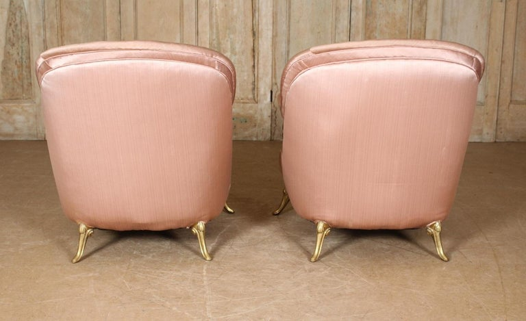 Pair of 1950s French Bronze and Upholstered Lounge Chairs For Sale 3