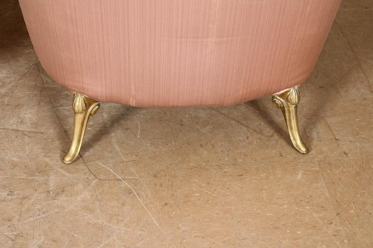 Pair of 1950s French Bronze and Upholstered Lounge Chairs For Sale 4
