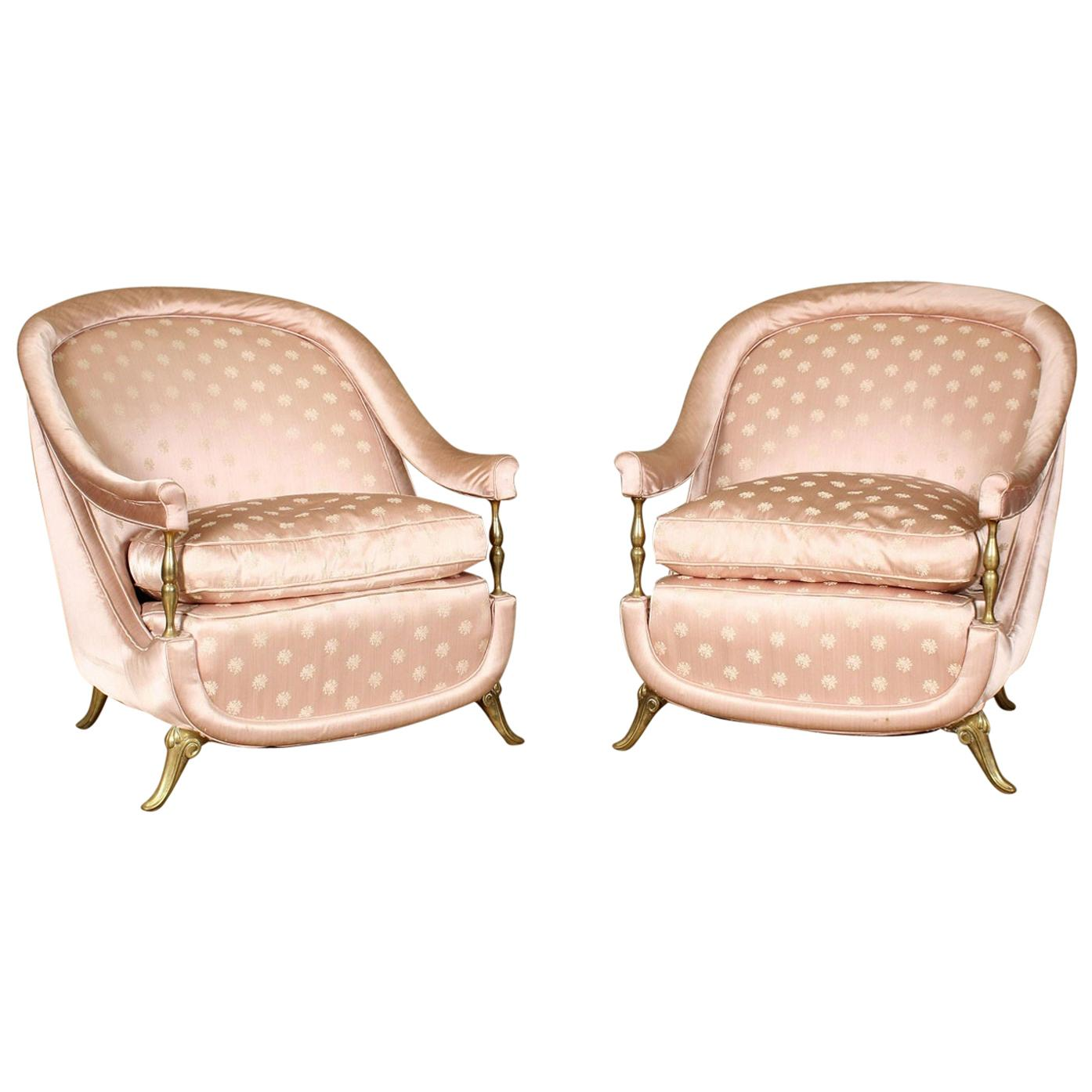 Pair of 1950s French Bronze and Upholstered Lounge Chairs