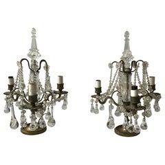 Pair of 1950s French Bronze or Crystal Candelabra