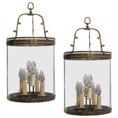 Pair of 1950s French Demilune Wall Lanterns with Curved Single Pane Glass