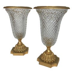 Pair of 1950s French Gilt Bronze and Glass Urns