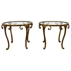 Pair of 1950s French Gilt Wrought Iron Glass Top Side Tables