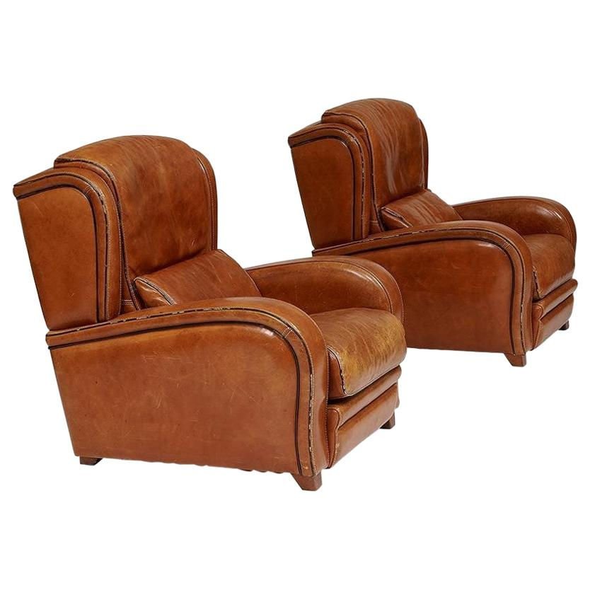 Pair of 1950s French Leather Lounge Chairs