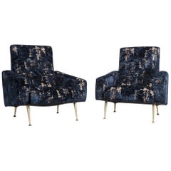 Pair of 1950s French Lounge Chairs in Blue & Gold Velvet Fabric with Brass Legs