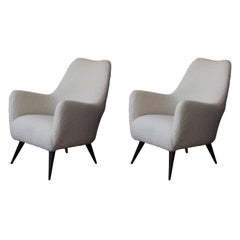 Pair of 1950s French Modern Chairs in Wool Shearling