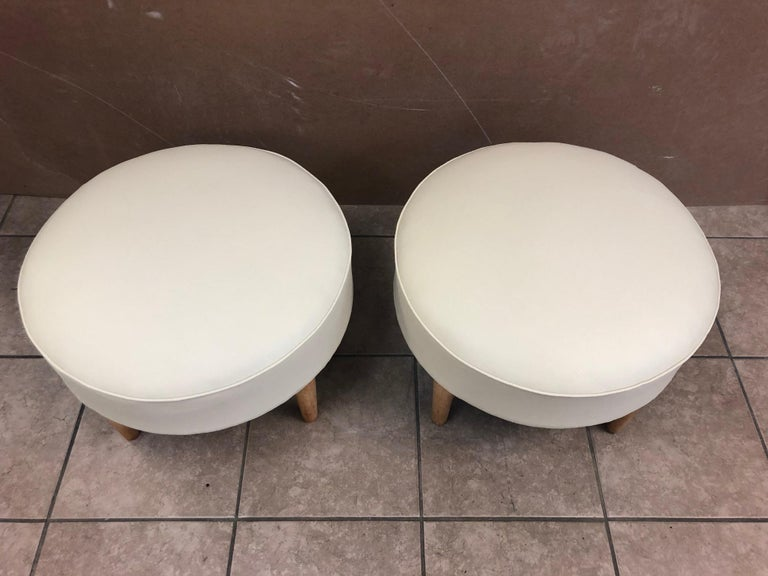 Pair of 1950s, French Ottomans In Good Condition For Sale In New York, NY