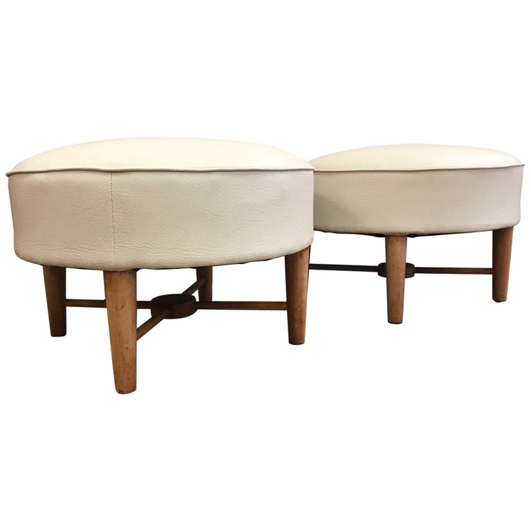 Pair of 1950s, French Ottomans For Sale
