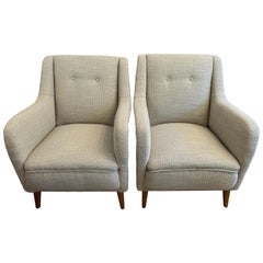 Pair of 1950s French Reupholstered Loop Flax Fabric Armchairs Lounge Chairs