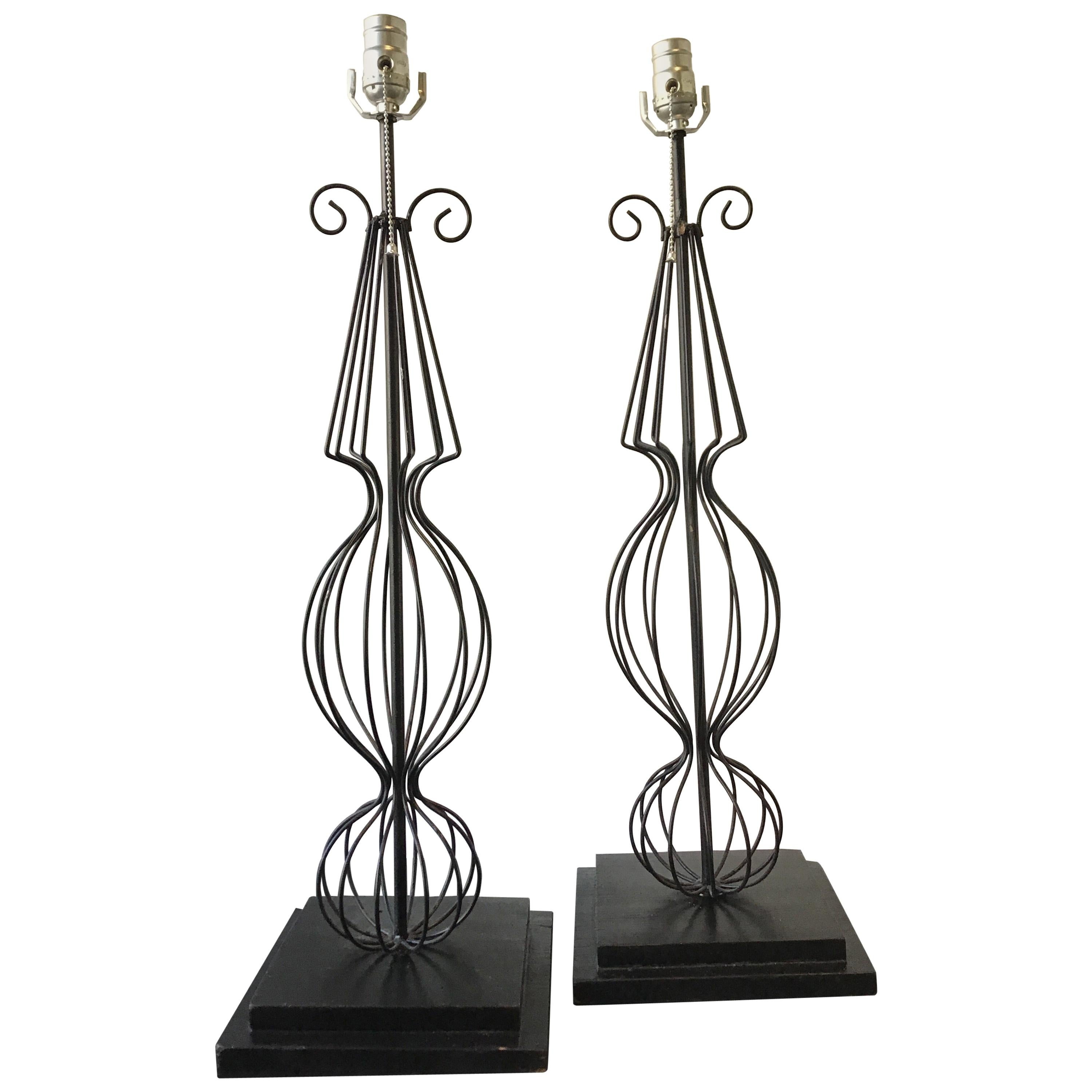 Pair of 1950s French Wire Lamps