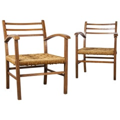 Pair of 1950s French Woven Rush Seated Armchairs