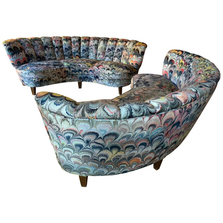 Pair of 1950s German Scalloped Curved Sofas in Beata Heuman Marbleised Fabric For Sale