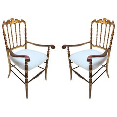 Pair of 1950s Gilded Chiavari Chairs with Ivory Seats