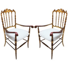 Pair of 1950s Gilded Wood Chiavari Chairs with Ivory Seats