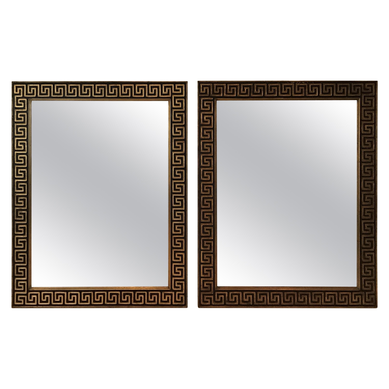 Pair of 1950s Gilt Wood Greek Key Mirrors