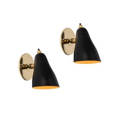 Pair of 1950s Giuseppe Ostuni Black Articulating Sconces for O-Luce