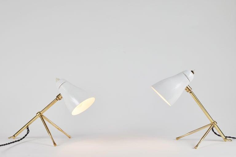 Pair of 1950s Giuseppe Ostuni 'Ochetta' Wall or Table Lamps for O-Luce For Sale 6