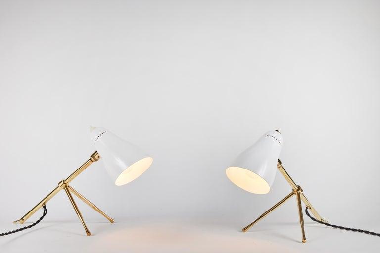 Pair of 1950s Giuseppe Ostuni 'Ochetta' Wall or Table Lamps for O-Luce For Sale 7
