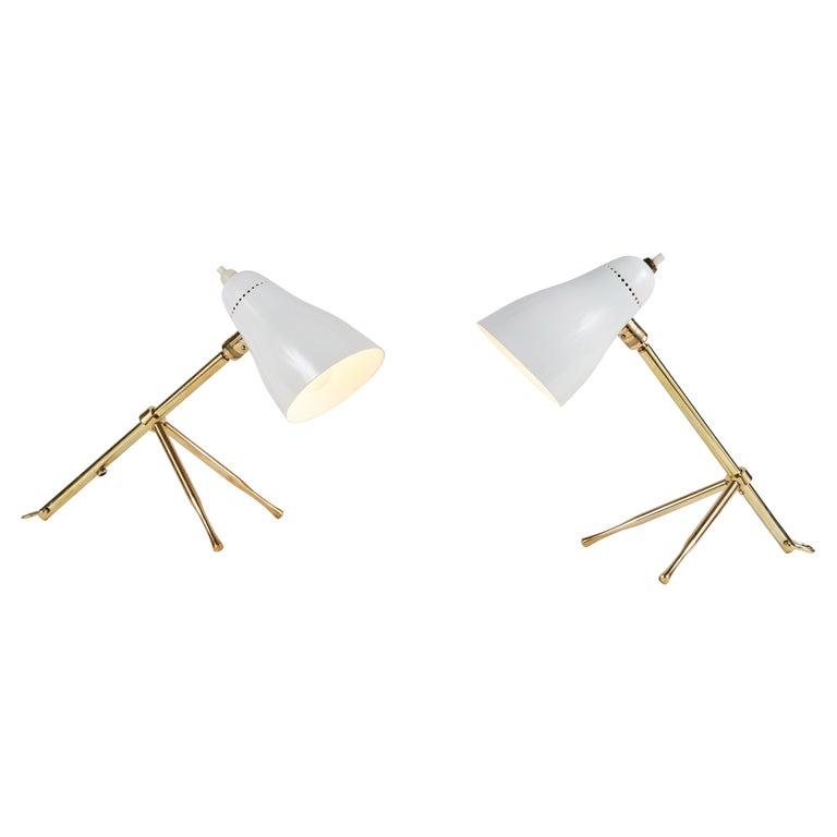 Pair of 1950s Giuseppe Ostuni 'Ochetta' Wall or Table Lamps for O-Luce For Sale