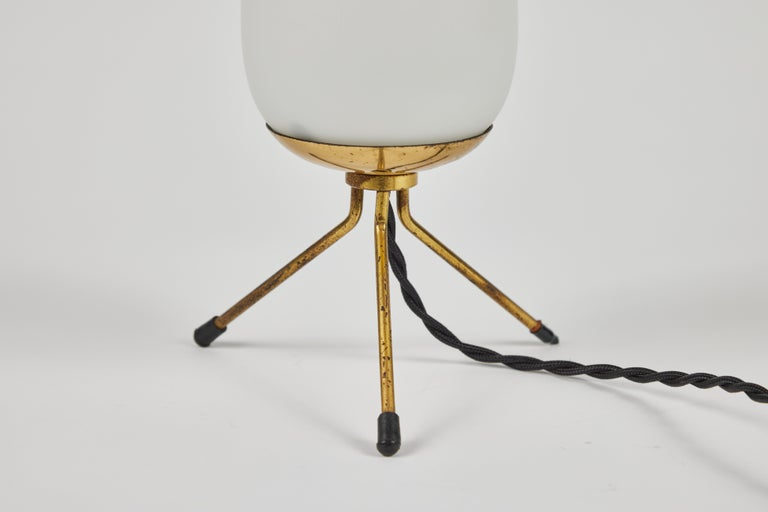 Mid-20th Century Pair of 1950s Glass & Brass Tripod Table Lamps Attributed to Stilnovo