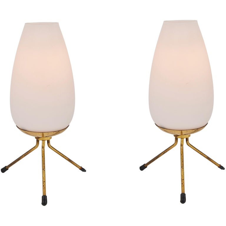 Pair of 1950s Glass & Brass Tripod Table Lamps Attributed to Stilnovo