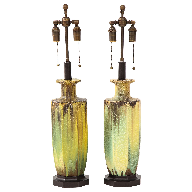 Pair of 1950s Glazed Ceramic Lamps