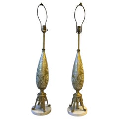 Pair of 1950s Gold Glass Lamps with Raised Floral Design