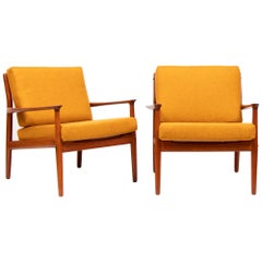 Pair of 1950s Grete Jalk for Glostrup Model 218 Teak Reupholstered Armchairs