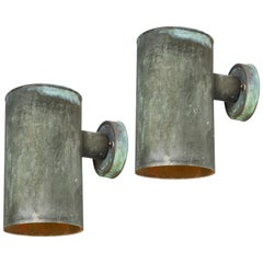 Pair of 1950s Hans-Agne Jakobsson Cylindrical Outdoor Sconces