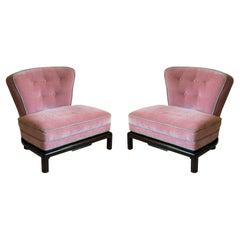 Pair of 1950's Highly Detailed Asian Modern Slipper Chairs