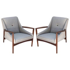Pair of 1950s Ib Kofod-Larsen Brown Wood Armchairs with Grey Linen Upholstery