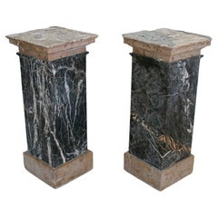 Pair of 1950s Italian 2-Tone Marble Square Pedestal Bases