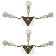 Pair of 1950's Italian 3 - Arm Sconces