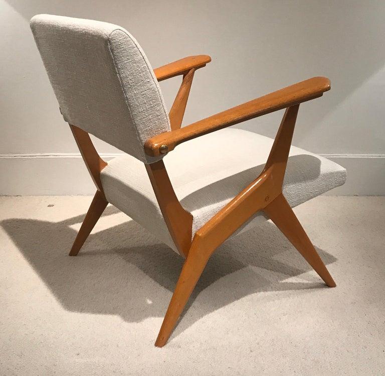Pair of 1950s Italian armchairs, New fabric.