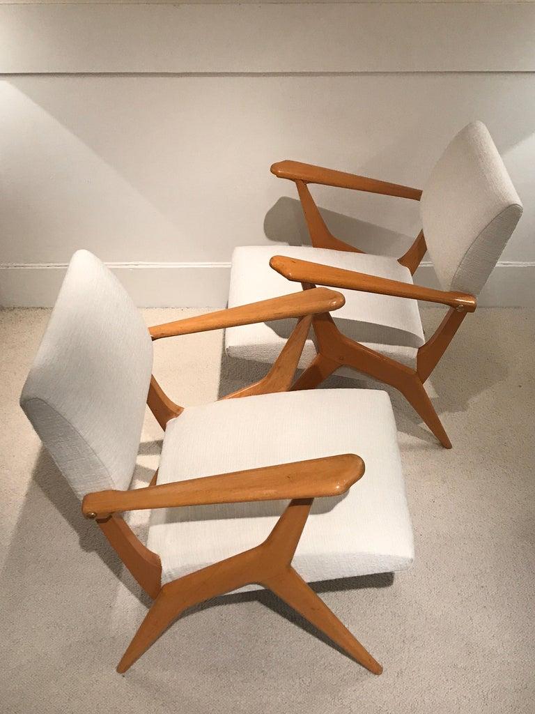 Mid-Century Modern Pair of 1950s Italian Armchairs For Sale