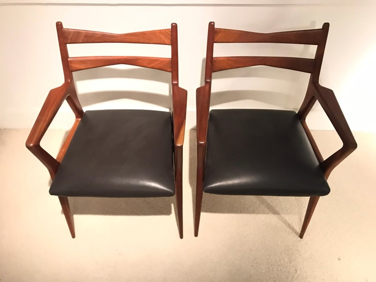 Leather Pair of 1950s Italian Armchairs For Sale