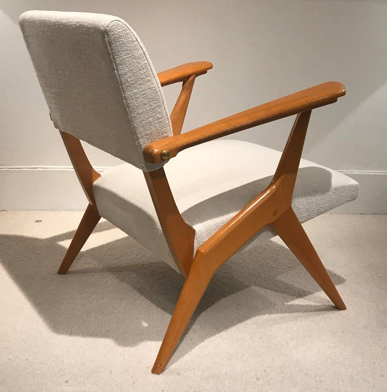 Wood Pair of 1950s Italian Armchairs For Sale