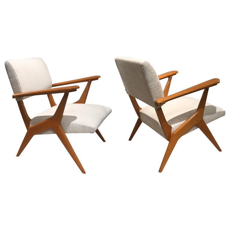 Pair of 1950s Italian Armchairs For Sale