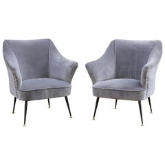 Pair of 1950s Italian Armchairs Gio Ponti Grey Velvet