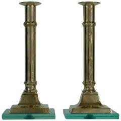 Pair of 1950s Italian Brass and Glass Candlesticks Fontana Arte Style