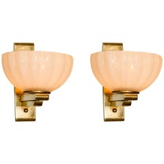 Pair of 1950s Italian Brass and Glass 'Cup' Wall Lights