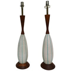 Pair of 1950s Italian Ceramic and Walnut Table Lamps