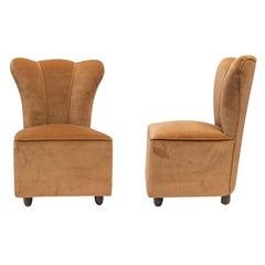 Pair of 1950s Italian Design Side Chairs Upholstered Sand Beige Colour Velvet